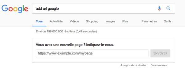 "One box Google pour ajouter une URL ""Add url Google"" - Arthur Camberlein"